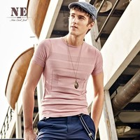 Summer Men's Fashion England Style Casual Knit Short Sleeve T-shirts Round-neck Bottoming Shirt [7951289667]