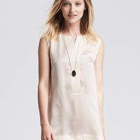 Banana Republic Womens Monogram Sleeveless Silk Tunic
