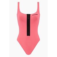 Zip Front One Piece Swimsuit - Fuchsia Pink