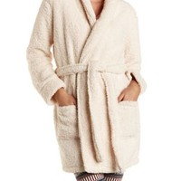 Super Soft Sherpa Fleece Robe by Charlotte Russe - Ivory Combo