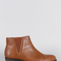 Bamboo Almond Toe Western Cowgirl Ankle Boots