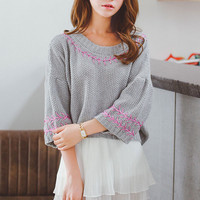 Sweet Knitting Puff Three Quarter Sleeve Pullover Sweater