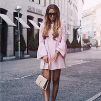 Light Pink Bell Sleeve Shift Mini Dress