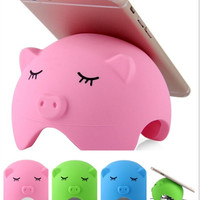 Cartoon Pig Style Silicone Suction Phone Stand Holder Cable Storage for iPhone 6 / 6 Plus Samsung HTC Smart Phone Tablet PC = 1845633860