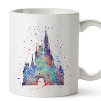 Cinderella's Castle Watercolor Coffee Mug, Kids Mug, Disney Mug