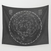 Star Map Wall Tapestry - Astronomy Wall hanging - vintage charcoal and beige wall decor unique milky way map