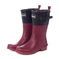 Women's Short Wellington Boots in Black and Burgundy by Barbour
