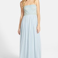 Women's Adrianna Papell Beaded Chiffon Strapless Gown