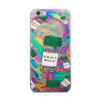 Chill Pills Cool Trippy Pill Bottle Collage Tie Dye Cute Girly Girls Green Blue & Pink iPhone 4 4s 5 5s 5C 6 6s 6 Plus 6s Plus 7 & 7 Plus Case