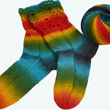 Rainbow  socks,warm,unique gift,christmas gift, lovely, autumn accessories