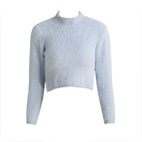 Turtle Neck Long Sleeve Mohair Knitted Fluffy Crop Sweater in Grey