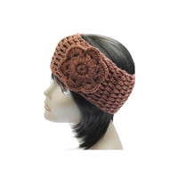 Brown Flower Knit Headband