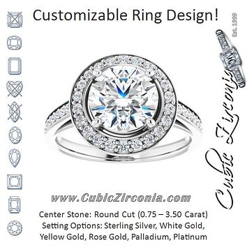 Cubic Zirconia Engagement Ring- The Natascha Eva (Customizable Cathedral-raised Round Cut Halo-and-Accented Band Design)
