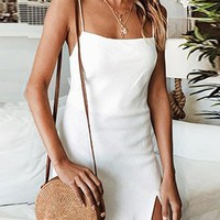 White Split Side Open Back Women Cami Mini Dress