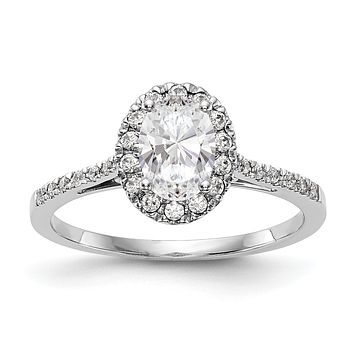 1/3 Ct. Natural Diamond Semi-mount Oval Halo Engagement Ring in 14K White Gold