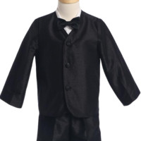Black Poly Silk Eton Jacket & Shorts Outfit 4 Pc Suit (Baby or Toddler Boys)