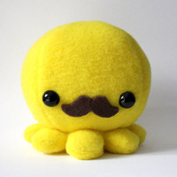 Octopus Plush Toy with Moustache by cheekandstitch on Etsy