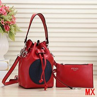 FENDI Women Fashion Leather Handbag Crossbody Shoulder Bag Satchel Set Two Piece
