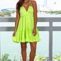 Neon Green Halter Neck Short Dress