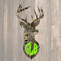 Camo Deer Head Monogram   Camo Deer Monogram   Camo Deer Decal   Hunting Decal   Country Decal