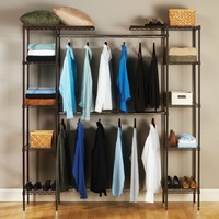 Bronze Expandable Hanging Clothing Rack With 5 Shelves Per Tower Organizer