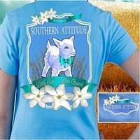 Sale Country Life Outfitters Southern Attitude Lamb Sheep Little Cute Little Bad Girlie Bright T Shirt