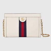 Gucci New Fashion Women Fashion Stripe Leather Chain Crossbody Handbag Shoulder Bag Satchel Whtie