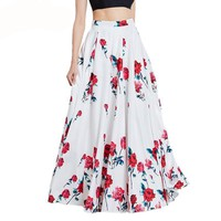 Women casual maxi skirts summer red floral print floor length elegant flowers white expansion casual long skirt