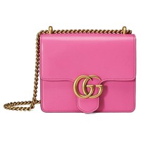 Gucci GG Marmont Pink Leather Chain Shoulder Bag 431384 5609
