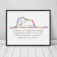 The Little Prince Boa and Elephant Quote Watercolor Art Print Poster Wall Decor Art Home Decor Inspiration Poster  AP077