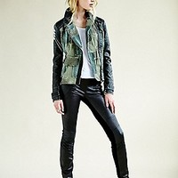 Free People  Patched Vegan Moto Jacket at Free People Clothing Boutique