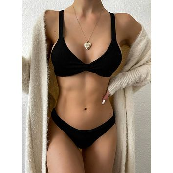 Rib Twist Knot Back Bikini Swimsuit