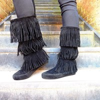 Will You Be My John Smith - Fringe Moccasin Boot