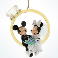 disney parks mickey and minnie wedding ring figurine ornament new with tag