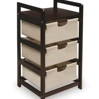 Badger Basket Three Drawer Hamper/Storage Unit, Espresso/Canvas