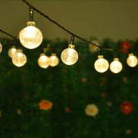 Solar Powered Led Outdoor String Lights 5M 20LEDs Crystal Ball Globe Fairy Strip Lights for Outside Garden Patio Party Christmas