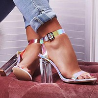 Fashionable new style thick heel buckle color female sandal