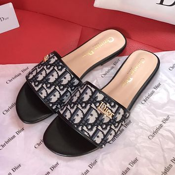 DIOR CD new embroidered letters ladies slippers sandals Shoes