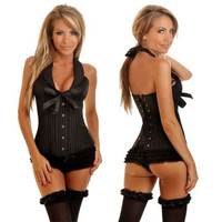 Women's Popular Sexy Padding Cup Lace Up Corsets Bustier Set Black stripe Halter Neck Lingerie = 1932824964