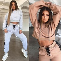 BKLD Women Tracksuit 2018 Autumn Winter Fashion New Hooded Sweatshirt Long Sleeve Crop Top And Pants Suit Two Piece Clothing Set