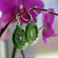 Dream Catcher Earrings - Multicolor Dreamcatcher Earrings - Dangle Earrings - Boho Earrings - Green White