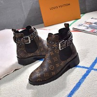 LV  Women Casual Shoes Boots popularable casual leather Women Heels Sandal Shoes