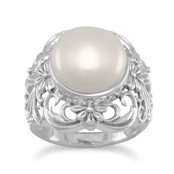 Sterling Silver Ornate Cultured Freshwater Pearl Ring