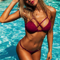Sexy wine red show body summer bikini two piece bath suit