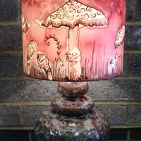 Mushroom Rusty Brown/Terracotta, Hand Silk Painted Lamp Shade 30cm Drum, With Fat Lava Vintage West German Glazed Ceramic Base.