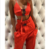 Hot selling sexy on buckle back vest straight tube belt trousers two-piece set