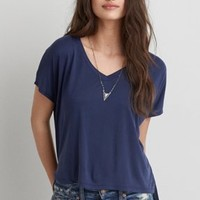 Don't Ask Why V-Neck T-Shirt, Teal   American Eagle Outfitters