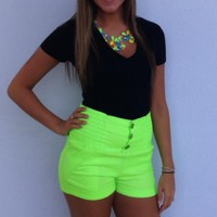 Neon High Waisted Shorts Button & Stretch Detail