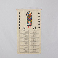Vintage 1976 Hand Screened Indian Kachina Doll Fabric Calendar 70s Wall Hanging Western Art Kitsch Hippie Southwestern Arrowheads Home Decor