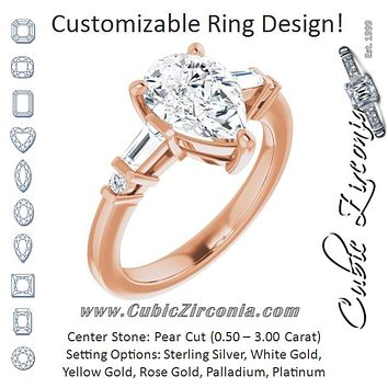 Cubic Zirconia Engagement Ring- The Belem (Customizable 5-stone Baguette+Round-Accented Pear Cut Design))